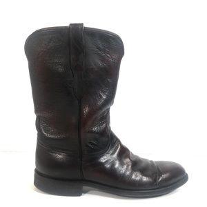 Lucchese Men Black Cherry Leather Cowboy Boots 8 D